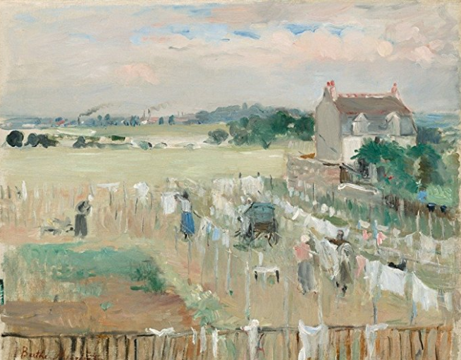 Linda Tiller: I've had this one hanging in my laundry room for as long as I can remember. - Berthe Morisot, Hanging the Laundry Out to Dry, 1875.