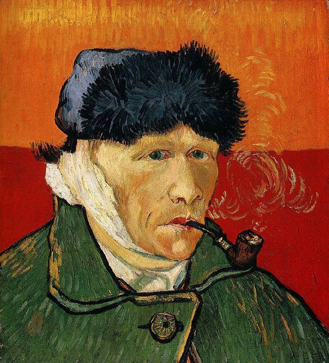 Vincent Van Gogh,  Self Portrait With Bandage and Pipe , 1889, now at the Kunsthaus Zurich. One of Linda's favorites.