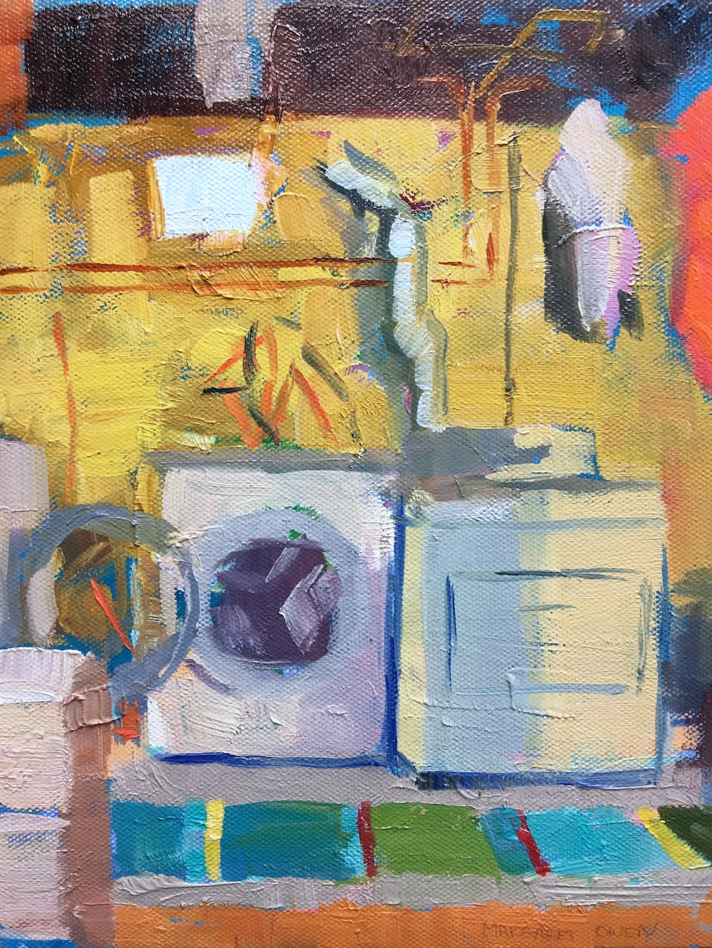 "Margaret Owen,  Laundry Room in Winter,  oil on canvas, 10""x8"" ."