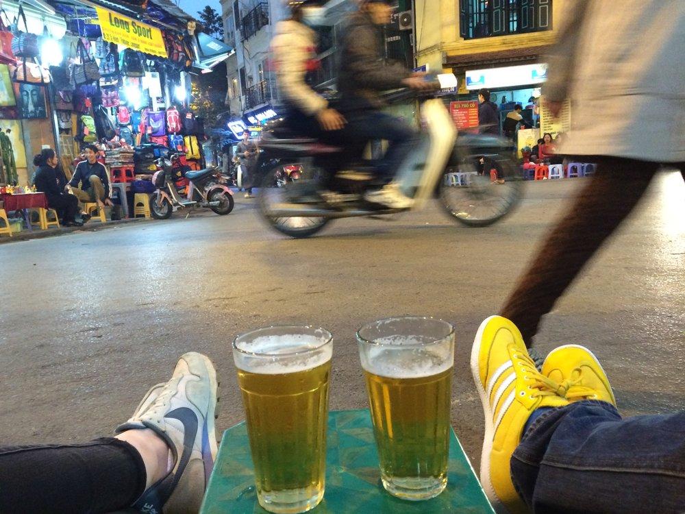 Beer Corner in Hanoi, our sneakers.