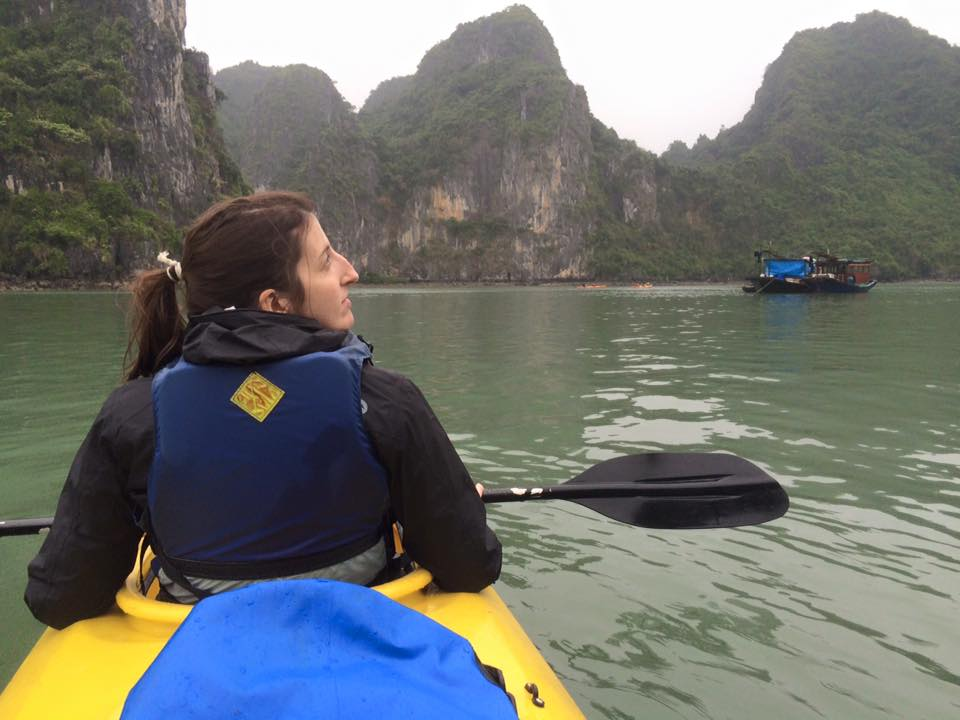 Kayaking to a pearl farm in Ha Long Bay.