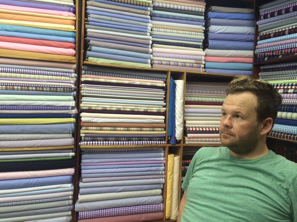 Jack considers his textiles options in Hoi An.