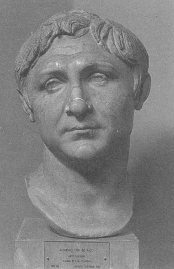 Un busto de Cneo Pompeyo Magno, defensor del Senado y el gran enemigo de Cayo Julio César durante la guerra civil romana.