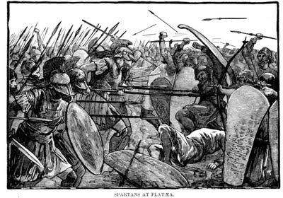 Las tropas espartanas que luchaban bajo el regente Pausanias cargan sobre los desmoralizados infantes del ejército persa comandado por Mardonio en la batalla de Platea.