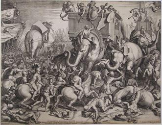 Ilustración moderna de una escena de la batalla de Cannae entre romanos y cartagineses.