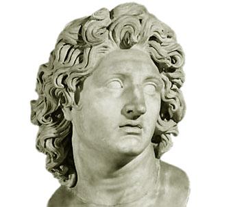 Un busto de Alejandro Magno, rey macedonio que usó la violencia -como los demás políticos y militares de su época- para afianzar su poder.