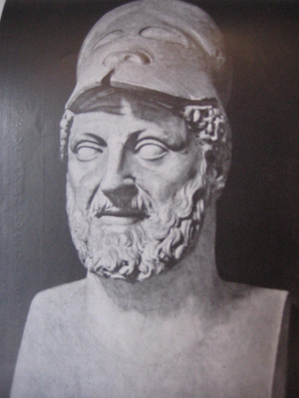 Un busto de Amílcar Barca, padre del famoso Aníbal y general de las fuerzas cartaginesas durante la Guerra de los Mercenarios.