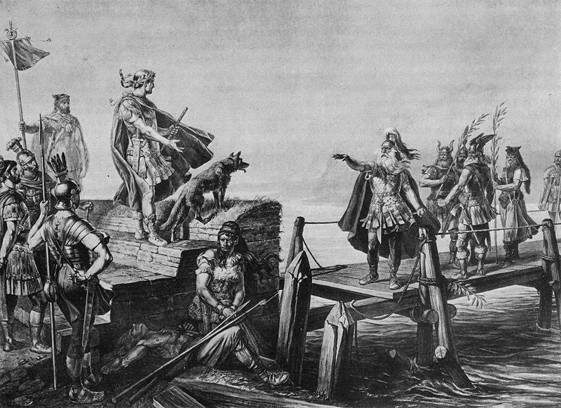 Ilustración de Cayo Julio César durante su campaña en las galias.