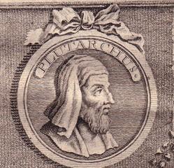 Plutarco en un grabado de una edición de sus obras.
