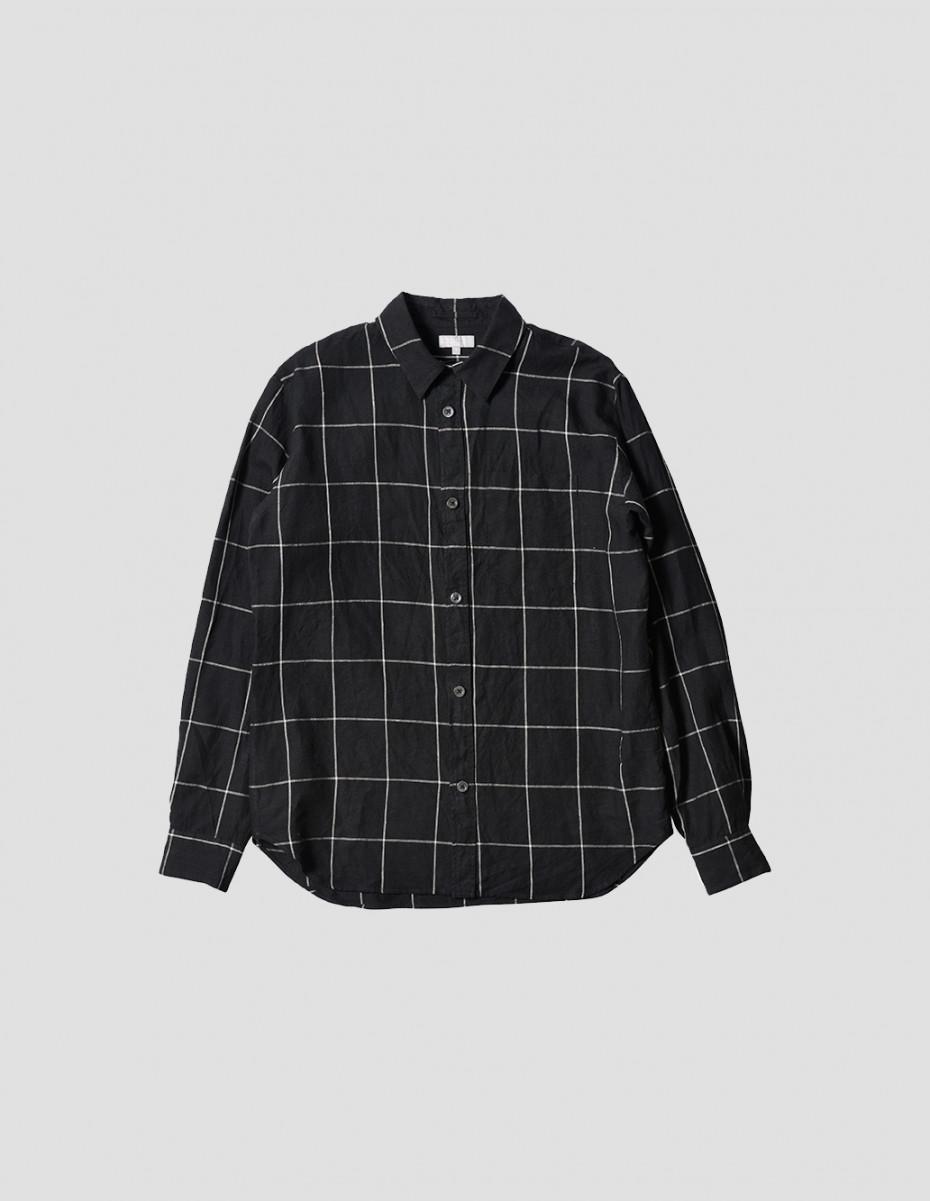 MINIMAL SHIRT - Oversize Check Linen, Black/Natural,  Mens Relaxed Cut, Garment Washed Shirt