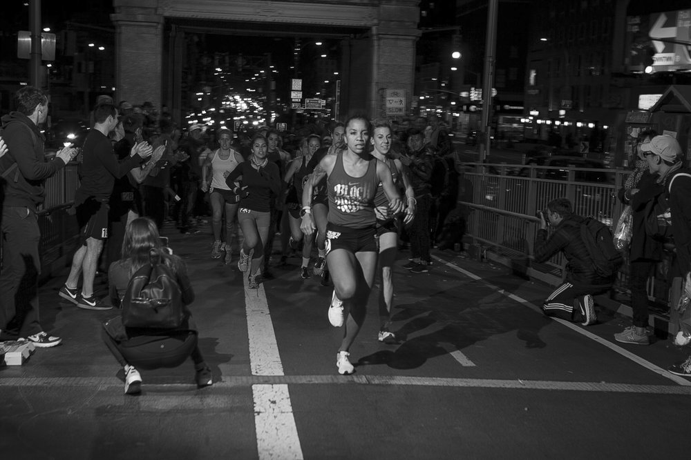 """This race, the distance and pace, was a perfect storm of tough conditions. I heard afterwards that a couple people tasted blood in their mouths while running, haha, so this explains just a little bit of what we were up against, not only in terms of the competition but in terms of the elements, and amazingly, what we were able to push through. I'm always really inspired to run with other fast folks from around the city.""    Faith Briggs   