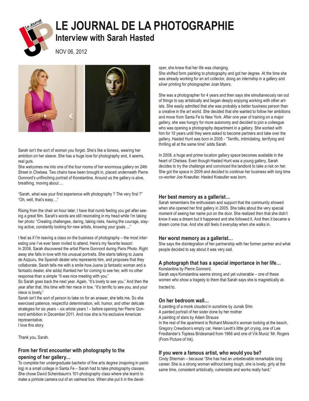 Sarah Hasted Interview: Le Journal de la Photographie