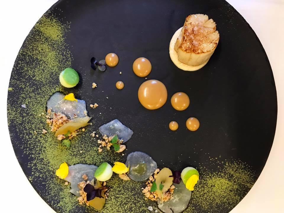 Roasted raw scallops, celery chutney, apples, miso, almonds