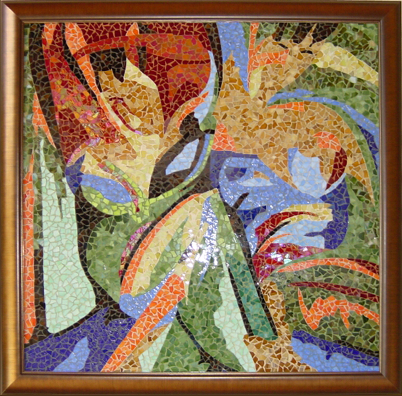 Lyric Explosion No #7  - Mosaic mural composed of glass fragments and hand mixed colored sand.Framed in 2