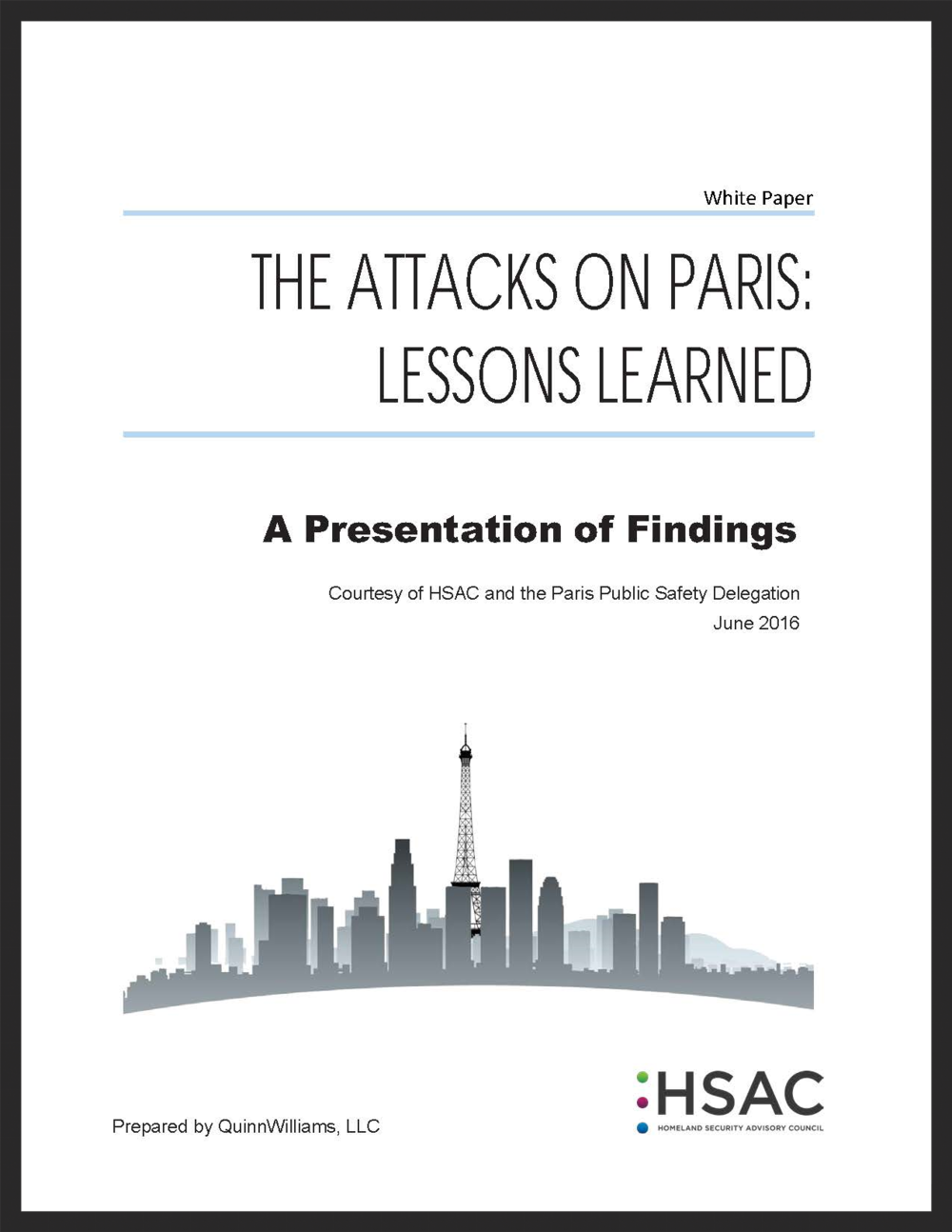 Click to download the HSAC White Paper on Lessons Learned from Paris Attacks