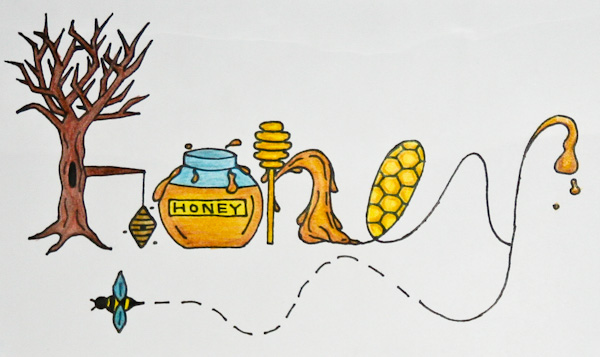 Honey 2010, typographic illustration