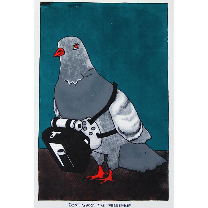 CIA Pigeon Camera, 2015, (11x16) silkscreen print