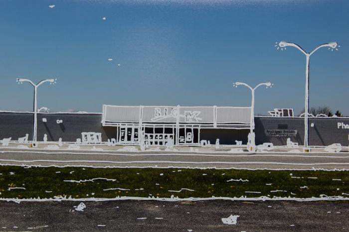 Hometown Kmart, 2015, silkscreen print on archival inkjet photograph