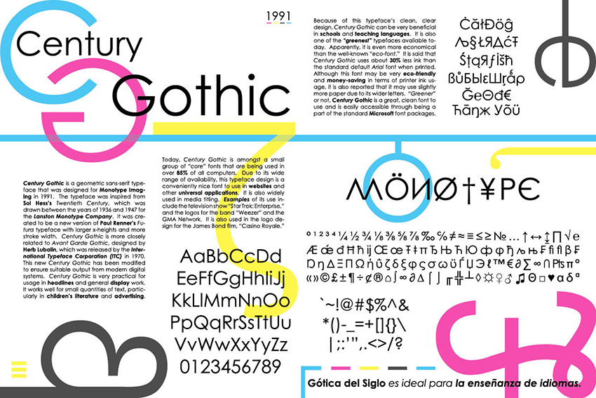Century Gothic Type Specimen 2013, digital composition