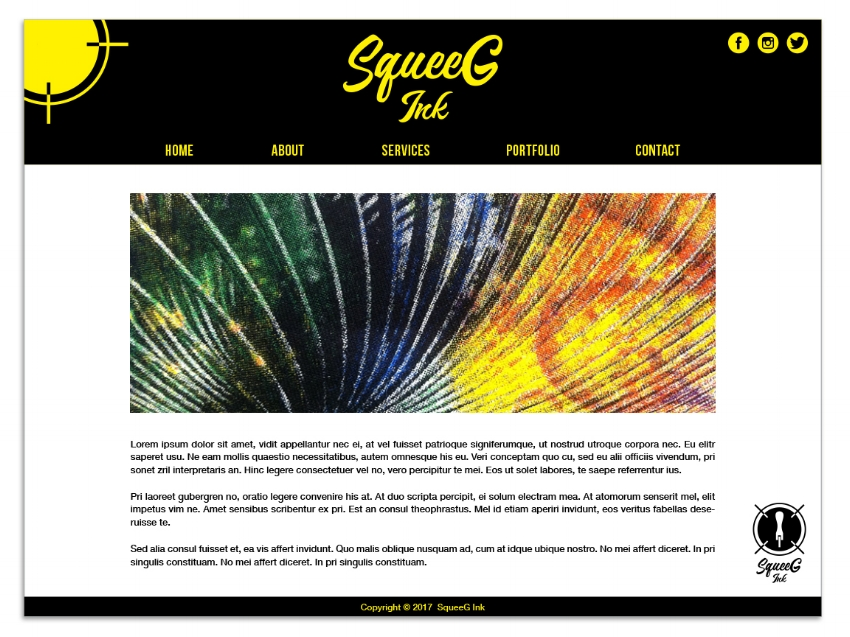 Home Page of the SqueeG Ink Website