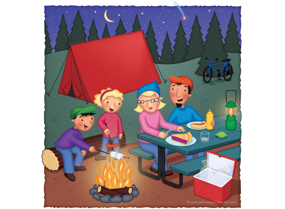 family camping trip yellow pencil studio