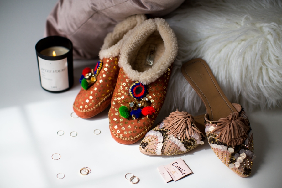 Llani Moc w/ Baubles in Spice (coming Fall 2017) and  Embellished Room Slide  in Peche photographed with Catbird  Rings  &  After Hours  Candle