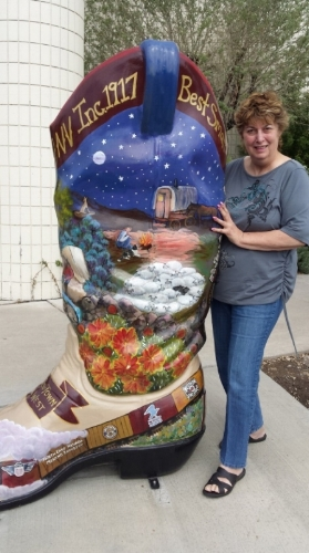 Katy Kassian's step-mother, Grace Papale in Elko, Nev., with just one example of the arts -- and fun kitsch -- that can be found in rural America.