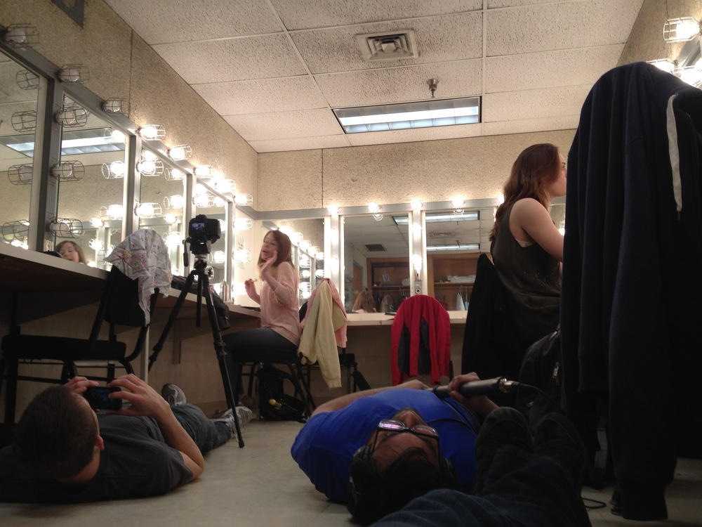 Film Shoot - Refraction, laying on the floor to hide from mirrors!
