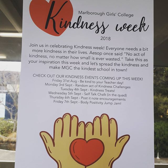 #kindnessweek @marlborough_girls_college_  Everyone needs a bit more kindness in their lives!!