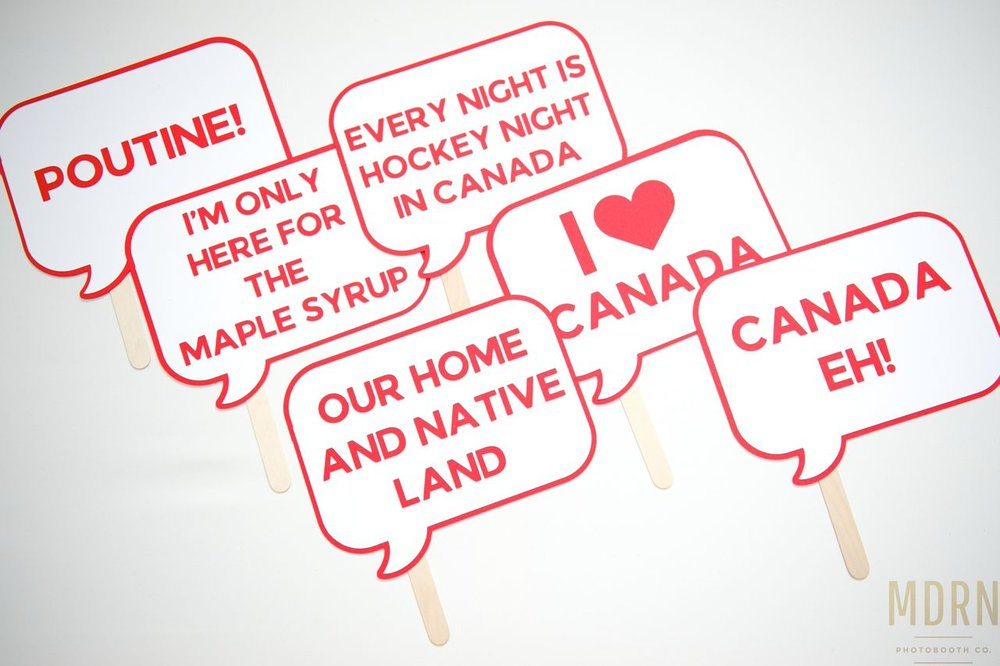 Canadiana Photobooth Word Bubble Props