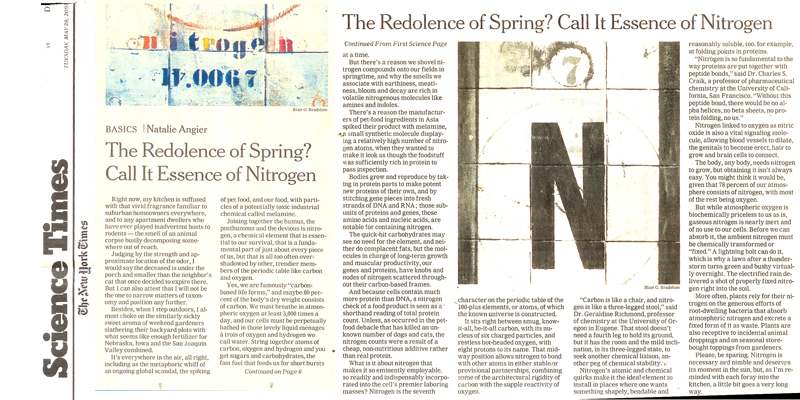 NEW YORK TIMES - A nitrogen painting was chosen to illustrate an article in the New York Times on the element Nitrogen.