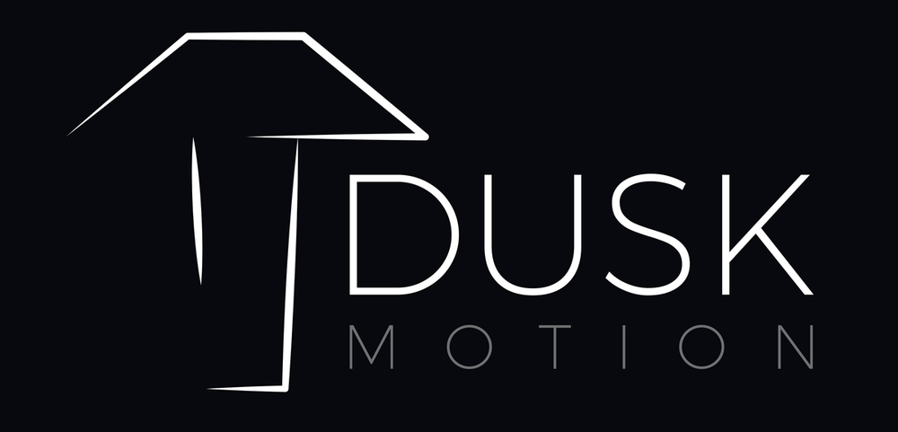 Dusk Motion official logo with name black background