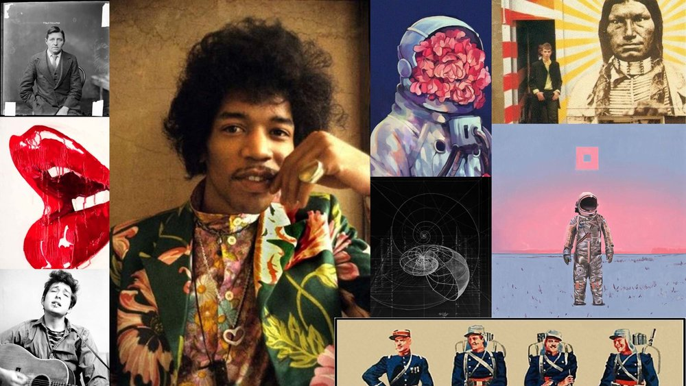 Mood Board - A psychedelic combo of Jimi Hendrix meets Sgt Pepper