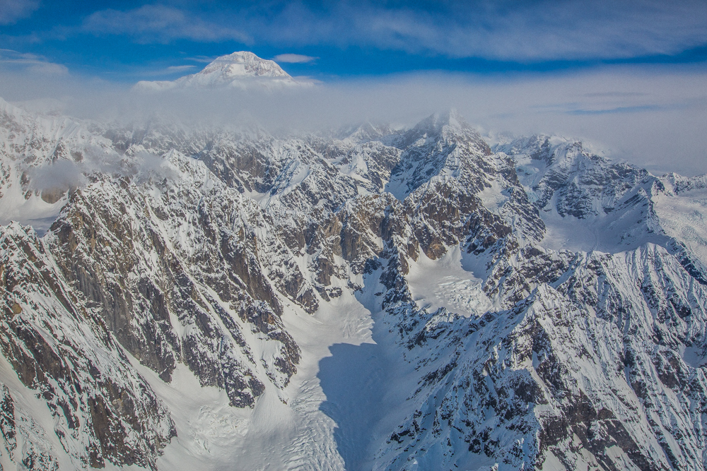 Denali from airplane, Alaska, USA