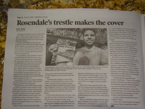 Coverage of my Rosendale Trestle photo on Ulster County Travel Guide - BlueStone Press, June 2015