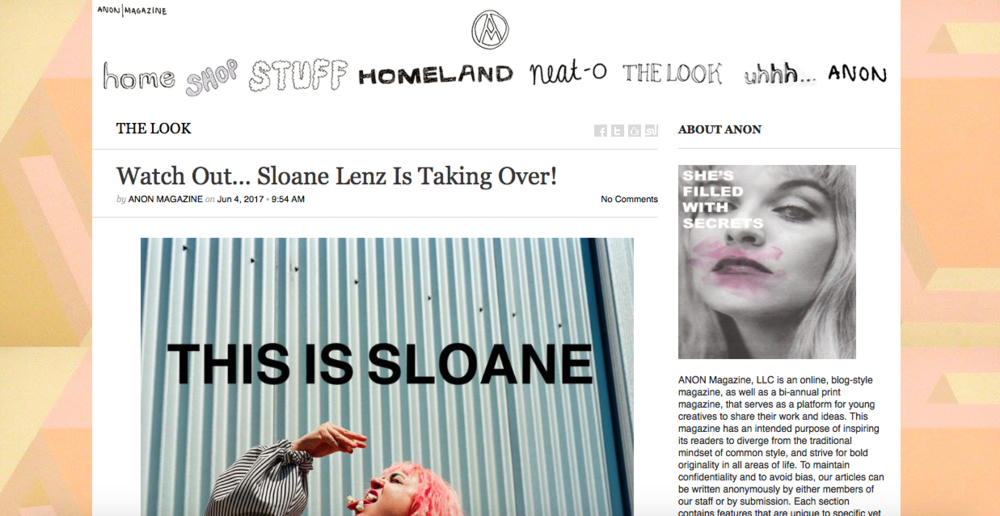 "http://anonmagazine.com/watch-out-sloane-lenz-is-taking-over/     Sloane Lenz is a 21 year old avant-garde fashion designer living in Austin, TX. Growing up mostly in the rural town of Athens, Texas, she began creating unusual pieces for herself to wear, made from materials she could source at her local hardware and grocery stores. She creates striking garments utilizing many unconventional materials, with a preference for plastic and canvas. Sloane has been sewing since just 8 years old. But in addition to her love for designing, Sloane is Co-Creator of a blog called  ALLUMER , which focuses on music, style, and culture, and she also enjoys creating films and hand embroidered pillows in collaboration with her brother, who creates the custom graphic designs.  She showcased her debut collection at Austin Fashion Week in April 2015 (at just 19 years old), then her second collection at Dallas Fashion Week the following September. She premiered her third collection during New York Fashion Week in February of 2016, as well as Atlantic City Fashion Week the following week. This 24 piece collection, which also showed at Austin Fashion Week April 2016, is receiving an enormous amount of critical acclaim. She premiered her 4th collection in Dallas this past September, and was asked to show it again in Florida during SWFW in October, as well as Houston Fashion Week later that month. Drawing most of her inspiration from music, she incorporates elements she picks up into her collections. Her runway is comprised of wearable art, avant garde clothing pieces, and she even creates custom garments for musicians' stage wear, as well as made-to-order pieces. Sloane has been described countless times as ""a modern Betsy Johnson"", and has even had her work compared to that of the late Alexander McQueen. Recently she was named the ""Andy Warhol of the night"" by the Houston Chronicle after showing her Collection 4 at Houston Fashion Week in October. Collection 5 just debuted in April, premiering in Memphis during Memphis Fashion Week, and then in full (24 pieces) in Austin at Fashion X Austin. There's so much more fun on the horizon…      ANON: What it it like being a fashion designer in Austin, Texas, or even Texas in general?   SLOANE: I'm not sure how it really compares because I've never lived anywhere else, but I really enjoy being a part of an industry that's somewhat in the growing process. Especially in Austin, I feel like the fashion industry is really experiencing a lot of growth right now, which is exciting to be a part of. Austin has such a history for creativity and innovation in so many areas, so I feel like it's only natural that it would have a really solid community of designers as well. Obviously the resources you might have in like New York or L.A. as far as fabric stores, etc. aren't as diverse, it really forces me to be creative, and see new aspects in materials or things I might not think to work with right off the bat.   A: What sparked your interest in fashion?    S: I've always had an interest in fashion as long as I can remember. My brother and I were in theatre growing up, and so costuming was always something that seemed so magical to me. My brother and I used to make little films with our friends, so I was always the one to glue-gun together the costumes. When my brother was like 11, and I guess I was 13 or so, he won this dance contest and we got to meet Katy Perry after her show in Dallas. We found out like two days before the show, and it was her candy tour so of course we had to make something to wear. We went to Goodwill and bought a bunch of candy at the discount grocery and just started covering these pieces in it. I made a dress out of Pop Rocks packages, and my brother made a peacock hat covered in Twizzlers and fake cotton candy. When we walked in the meet and greet she turned to me and said ""oh my gosh, take that off I want it!"". I was like ""I totally would but I don't have anything else to wear!"", haha. From then on we always dressed up when we went to shows, and it became this little challenge for us.   A: What materials do you like to work with? What is your favorite creation so far?   S: I work a lot in canvas. I like how stiff it is, and it's really a great blank canvas for embroidery or painted elements. I like using found fabrics, or vintage fabrics I can sometimes find various places. I like coming across a piece of fabric and letting it sort of tell me what it wants to be. I'm not sure I could pick a favorite creation so far, but I'm a bit partial to my Walmart plastic bag dress I made when I was 15 to wear to the Lady Gaga show. It has like 400 plastic bags stitched onto it, and it ended up being my first finale dress when I showed on the runway the first time during Austin Fashion Week in 2015.   A: Describe your style in two words:    S: Ever changing   A: What artists/designers do you look to for inspiration? Where else do you find inspiration?   S: I find a lot of inspiration in vintage design. I love the silhouettes of 60's minis and renaissance revival. I really love the 70's and all the sort of gender blurring that went on. I try to pull inspiration from music and film, or things like that that inspire me, and not so much current designers or artists. I really want to create things that aren't influenced too much by anything that's already out there. I want to create something that's a blend of all these different elements, so that hopefully it looks like something you've never seen before.   A: Many artists and designers like to collaborate from time to time – who is your dream collaborator?   S: Oh wow… That's tough. If it could be someone who's passed on, I would probably say Isabella Blow and/or Alexander McQueen. I'd love to time travel and dress the New York Dolls if that's an option? Or maybe collaborate with Zelda Fitzgerald on a project of some kind, which is actually in works    A: Are you a full-time designer, or do you still have another part/full time job? If you are a full-time designer, how did you make the leap to designing full-time, especially for being so young?   S: I do a lot of things, haha. My brother and I are filmmakers too, and so we make a lot of music videos. He's an amazing animator, and then I love being behind the camera and editing. We run a music blog too, which just sort of pops up when we cover shows or come across something amazing we want to share. We teach film a bit to younger, private students, which is really fun. I do some styling, too, for bands and photoshoots as well. And then I embroider pillows that my brother draws the patterns for. We make custom pillows for people, and then sell some on Etsy as well. I love making clothes though, but I also really enjoy having a blend of things I do, so I never burn myself out on one thing for too long.   A: What has your biggest struggle been as a fashion designer?   S: I would say the technical aspect of making clothes. I don't really make patterns. I have my base pieces I know and love, and then I sort of experiment off of those to create what I see in my mind. I've had to make patterns for some projects in the past, and I really just enjoy the more experimental side of making garments. It would be amazing to learn tailoring at some point, but right now I'm just enjoying experimenting.   A: Do you sell your runway garments, or are those currently one of a kind pieces?   S: The pieces I send down the runway are samples that I keep to travel with and show, or to loan to musicians or for editorials. I can make a custom version of each piece (except a few that incorporate vintage fabrics or details like that), and then the runway sort of serves as a little catalogue, and then I just make one special for you.   A: As you continue to gain popularity, do you think you will stay in Austin, or will you move somewhere else?   S: I really love Austin a lot. I love being on the road as well though, so I always enjoy traveling to show other places. I think I'll probably always have some kind of tie in Austin, but it could be really fun to spend time different places if opportunities came up. Who knows what the future holds? I don't want to put any kind of box on it. I know for now Austin is where I'm meant to be, and no matter where I am I always find myself missing Austin a bit and all the magic there    A: Now that you've showcased your designs at various fashion weeks, which [fashion week] do you think was your favorite so far?   S: I was asked to show in South Walton, Florida last October, and randomly it was a really amazing experience, haha. I met some really lovely people, and everyone was so incredibly nice. The production of the event was top notch, and the way the team worked together to make it all happen was really fabulous. They treated me so amazingly well, and really rolled out the red carpet for me, haha. I showed alongside Christian Siriano, who was like my 8 year old self's Project Runway Idol. It seemed like everyone in town was really excited about it too, which is always fun, sort of that ""circus came to town"" feeling which is fun.   A: Did you attend a fashion school or take any courses? Or are you mostly self (or untraditionally) taught?   S: I was homeschooled with my brother the majority of our growing up, so when I was like 8 or 9 my mom found a lady in our town who had sewing skills, and I took classes with her for like a year or so. She taught me the basics of operating a sewing machine and reading a pattern, and then from there I just sort of figured out what else I needed to know, either through Youtube videos or just working with it, haha.   A: Do you ever face any difficulties with being taken seriously, due to your age or location?   A: No, I would say if anything my age has made people more willing to help, or interested people to see what I could do. I'm a virgo and I'm relatively detail orientated when putting together shows or organizing shoots. Being homeschooled I was always around people who were older than me, and I think that really helped instill a sense of equality in me. I've never felt like I was too young to do something, or felt like I couldn't communicate with adults because I was somehow beneath them. I think as long as you take care of whatever it is you're supposed to take care of, age should never be an issue or color people's thinking of you. I've worked with some adults who have been so immature and unprofessional it's crazy, so I think age should never be an excuse for someone's behavior.   A: Do you think you will ever work for a big fashion house, or will you stick with your own brand? If you were to work for a fashion house, which brand would it be?   S: I'd really love to continue building my ""brand"", but occasionally I think about how fun that could be to sort of help re-imagine an older house at some point. I really love Schiaparelli, and I feel like her amazingly innovative spirit and whimsical approach to how she made clothes was so amazing. Who knows? I'm totally open to new ideas and projects    A: What big events do you have coming up?   S: I have a bunch of photoshoots coming up in the next few months, and I'm currently on the road delivering some pillows to the F. Scott and Zelda Fitzgerald Muesum in Montgomery Alabama, as well as showing a few plastic pieces in the Memphis City Beautiful fundraiser show. I'm starting to dream on Collection 6 and what all it will hold, so I'll be able to share more on that soon. There may be some international travel next year coming up, so that's a really exciting prospect. We'll see  I have some pieces coming soon to a shop in Austin that will be available to pop in and pick up off the rack, incorporating embroidery and some fun graphic detailing that I'll be able to share about really soon too, so stay tuned!   A: Can you give us any hints as to what your next collection will be like?   S: Ooooh… Have you ever seen ""Orion: The Man Who Would Be King""? It's a documentary… There's gonna be some of that in there. Kinda like a time warp to a reality where Elvis still reigns king 😉 We'll see how it all comes together…   A: What advice would you give for other aspiring fashion designers?   S: Just go for it. Don't overthink it. I feel like a lot of people get in too far over their heads really quickly, especially with production and things like that. Just start with what you have, and it'll grow organically if it's meant to be. I don't think you can force fashion, and it really has to be something you put your life into if you want it to speak to people. I feel like if that's what you want to do, then go for it and don't care what anyones says along the way.   A: Celebrities tend to gravitate towards certain brands…like Bjork and Lady Gaga with Iris Van Herpen, or the Kardashians with Balmain, etc. …who would you love to dress in your designs?   S: Oh my gosh… I love dressing musicians. I feel like my work really lends itself to stage wear and that sort of thing. I'm open to anyone who wants to wear my work really  Obviously I think Bjork is amazing, and it'd be an honor to dress her. I think it'd be really fun to dress Miley Cyrus at some point too, haha. I love working with independent artists too, and really getting to see what they're trying to put out there, and sort of help that vision come to life.  To check out more of Sloane's work:   website    instagram       facebook   To view her collections:   Collection 1  //  Collection 2  //  Collection 3  //  Collection 4  //  Collection 5"