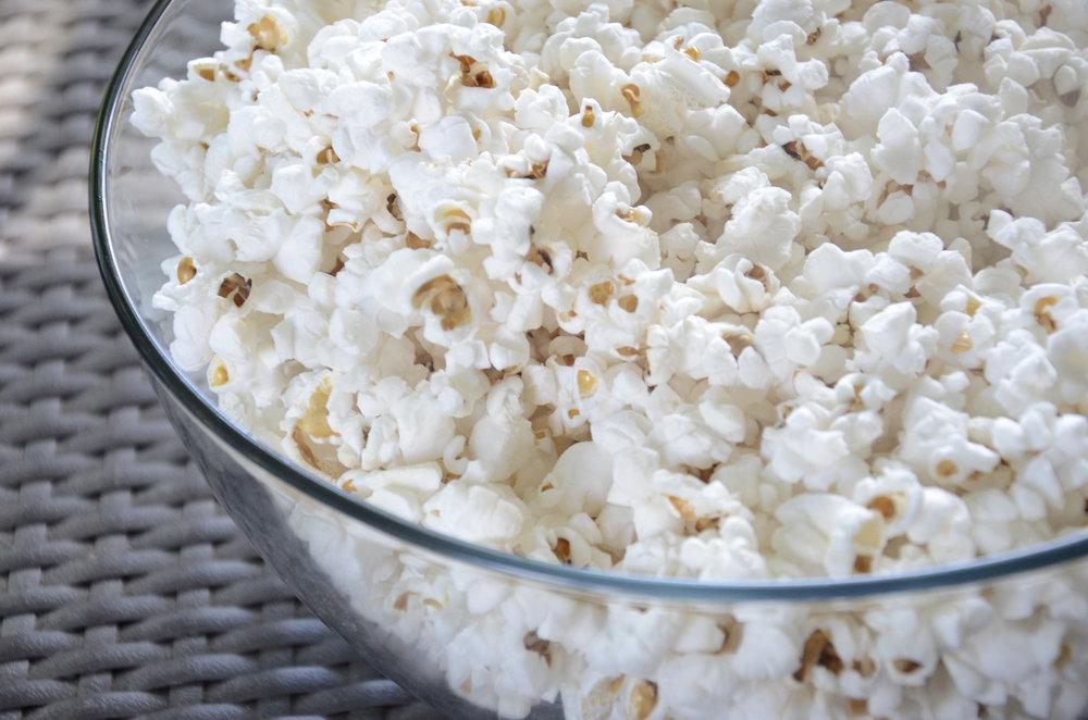 Just popcorn. Easy peasy. No recipe needed!