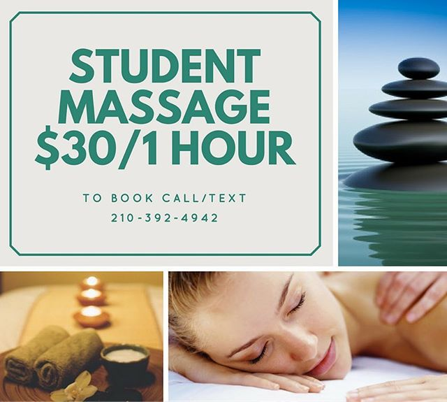 Seriously.... how could you resist!? For only $30 you get a relaxing 60 minute massage AND help an eager student move on to the next stage of her career as a licensed massage therapist. DM/Call/Text to book your appointment NOW!! Tues&Thurs 10-7 Wed&Fri 10-5  #massage #sanantonio #satx #treatyoself