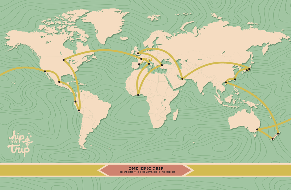 Round the World Trip Route Custom Map