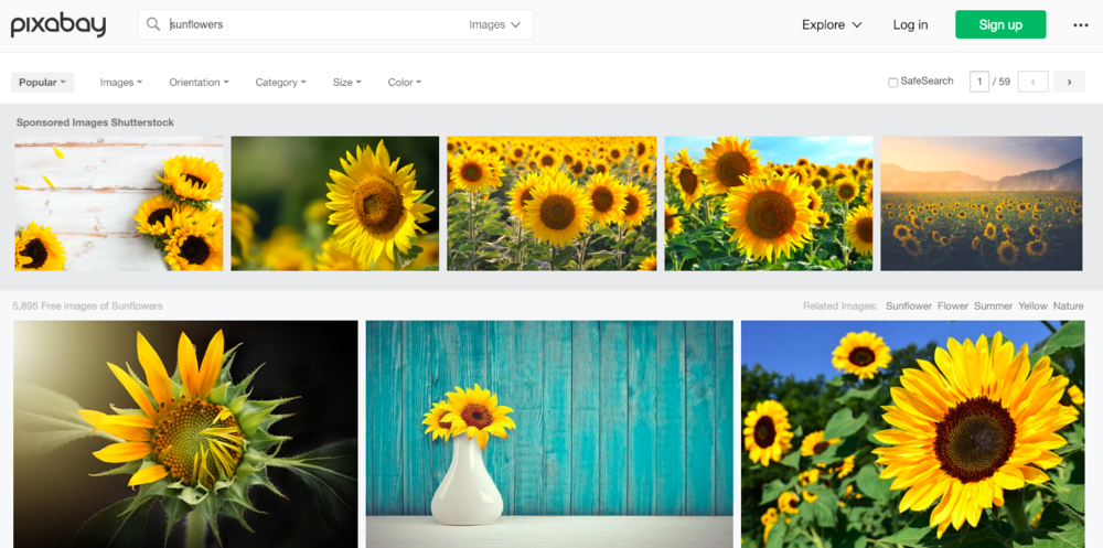 Pixabbay search example free tools for designers