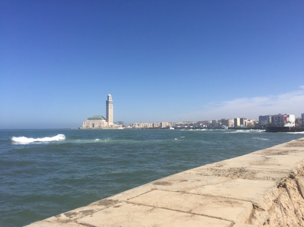 Looking at Hassan II Mosque from afar.