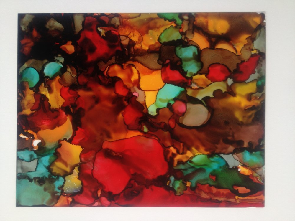 Alcohol ink on yupo paper. SOLD