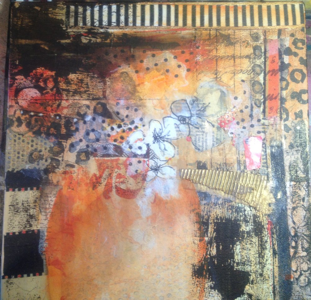 Collage and acrylic on canvas. SOLD
