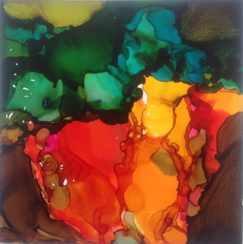 Alcohol ink on yupo. SOLD.