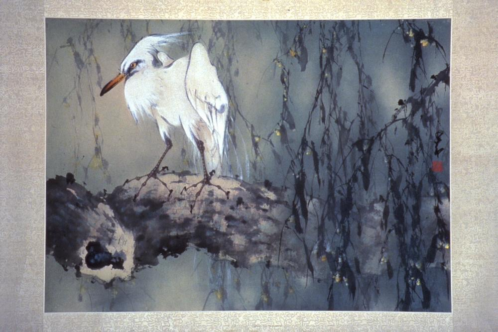 Egret ( 現代 趙少昂繪 孤高閒暇 紙本設色) Date: approx. 1930-1992 Materials: Ink and colors on paper