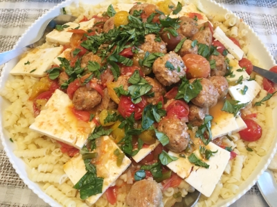 Cherry Tomato Pasta with Garlic Scapes and Meatballs