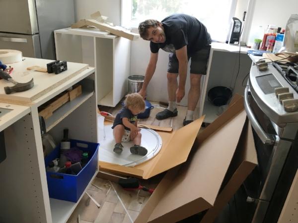 Caleb helping his dad!