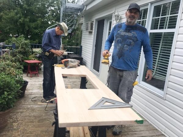 Dad and Dan, slow careful work...