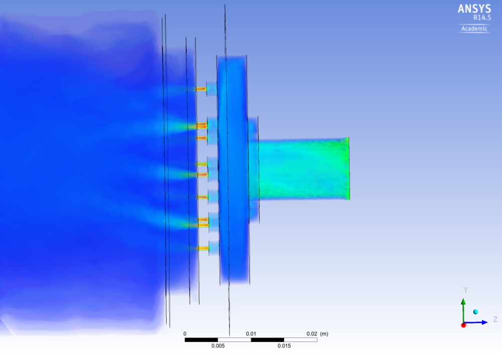 ANSYS analysis of a Mark I 'showerhead' injector plate configuration