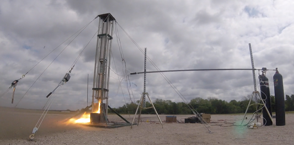Still image from our first hot fire test of the Titan hybrid engine